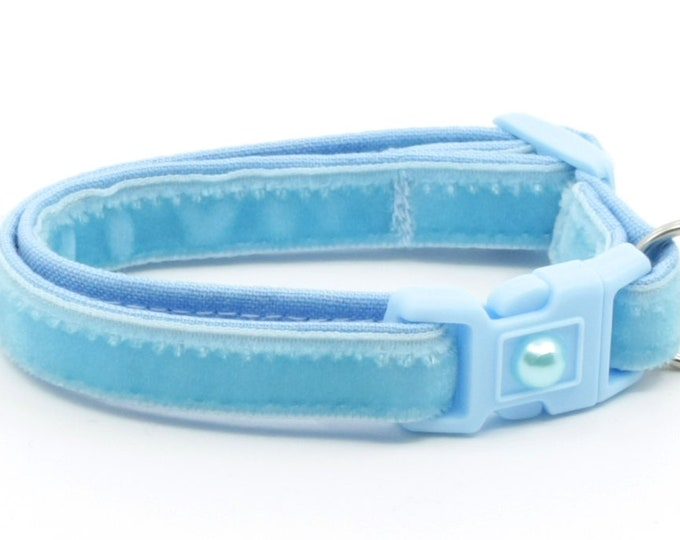 Soft Velvet Cat Collar - Baby Blue - Kitten or Large Size B119