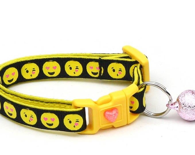 Emoji Cat Collar - Love Smiley Faces on Black - Emoticon - Small Cat / Kitten Size or Large Size B6