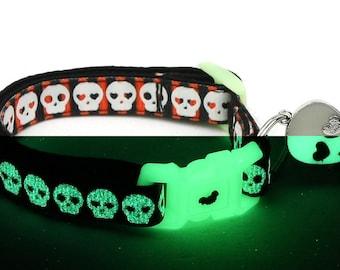 Skull Cat Collar - Glowing Skulls on Halloween Stripe - Small Cat / Kitten or Large Cat Collar - Glow in the Dark B25D84