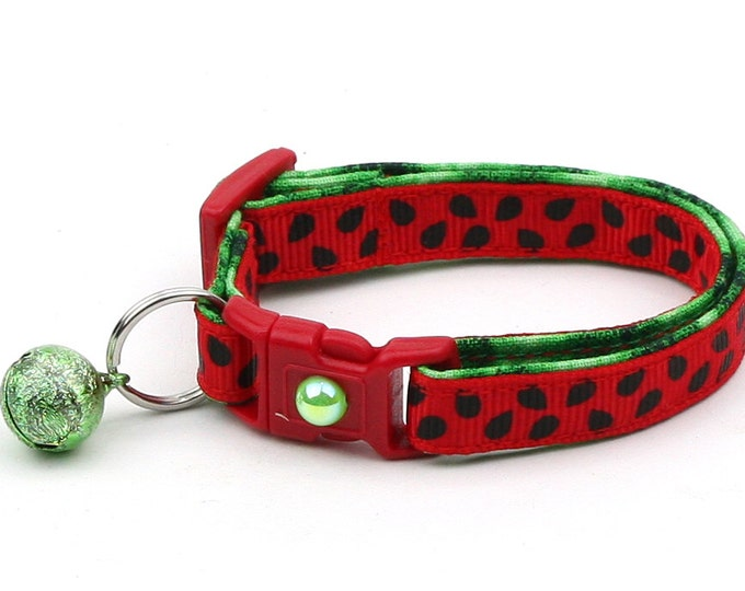 Summer Cat Collar - Fresh Cut Watermelon - Small Cat / Kitten Size or Large Size