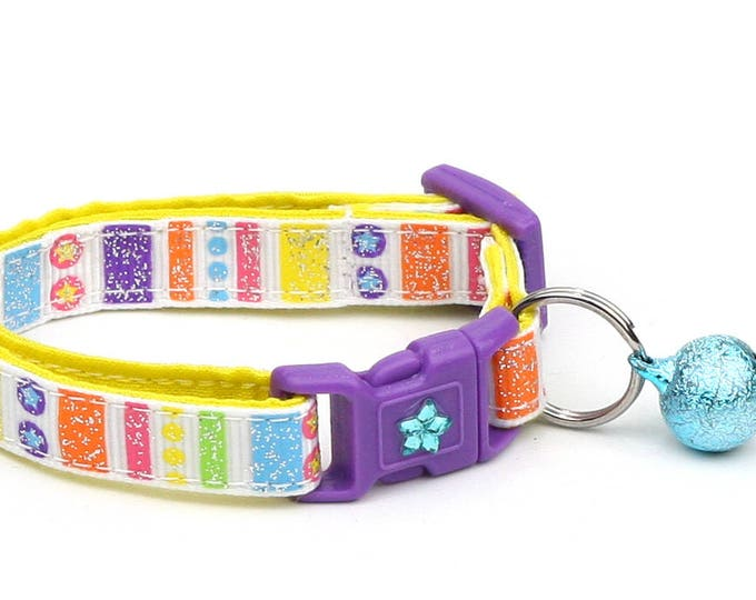 Striped Cat Collar - Summer Circus Stripes on White - Small Cat / Kitten Size or Large Size
