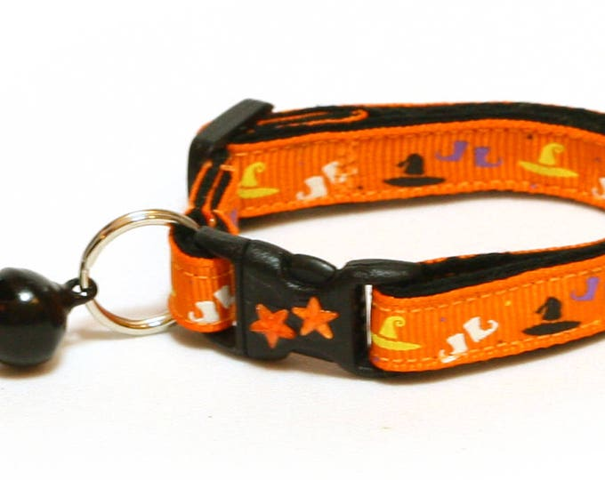 Halloween Cat Collar - A Witch's Wardrobe on Orange - Kitten or Large Size