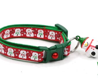 Snow Cat Collar - Jolly Snowmen on Red - Small Cat / Kitten or Large(standard) Size Collar B94D102