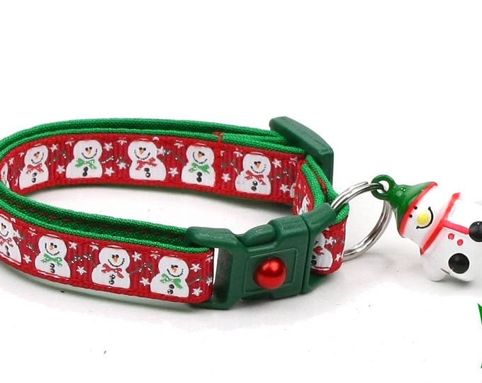 Snow Cat Collar - Jolly Snowmen on Red - Small Cat / Kitten or Large(standard) Size Collar
