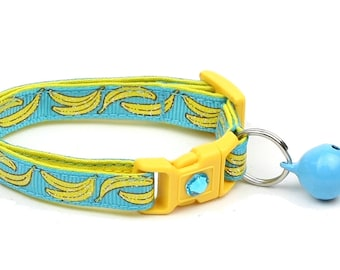 Fruit Cat Collar - Bananas on Bright Blue- Small Cat / Kitten Size or Large Size D22