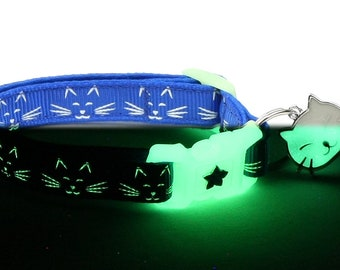 Glow in the Dark Cat Collar - Glowing Cat Faces on Royal Blue - Breakaway Cat Collar - Kitten or Large size