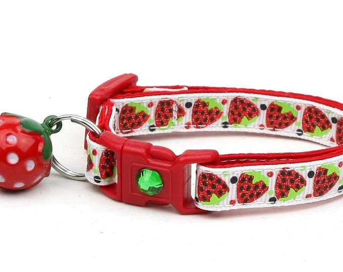 Strawberry Cat Collar - Strawberries on White - Small Cat / Kitten Size or Large Size