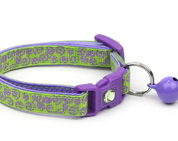Green Cat Collar - Purple Squiggles on Green - Purple Swirls on Green - Doodles - Kitten or Large Size