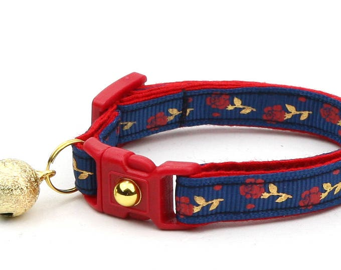 Floral Cat Collar - Red Roses and Gold Stems on Navy - Small Cat / Kitten Size or Large Size