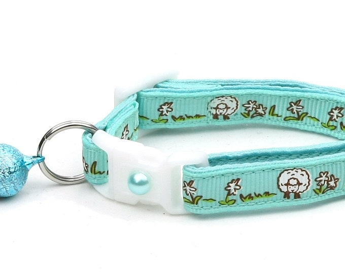 Sheep Cat Collar - Cute Sheep on Aqua Green - Kitten or Large Size