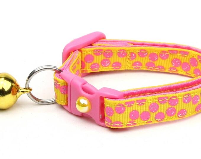 Polka Dot Cat Collar - Pink Dots on Yellow- Breakaway Cat Collar - Kitten or Large size