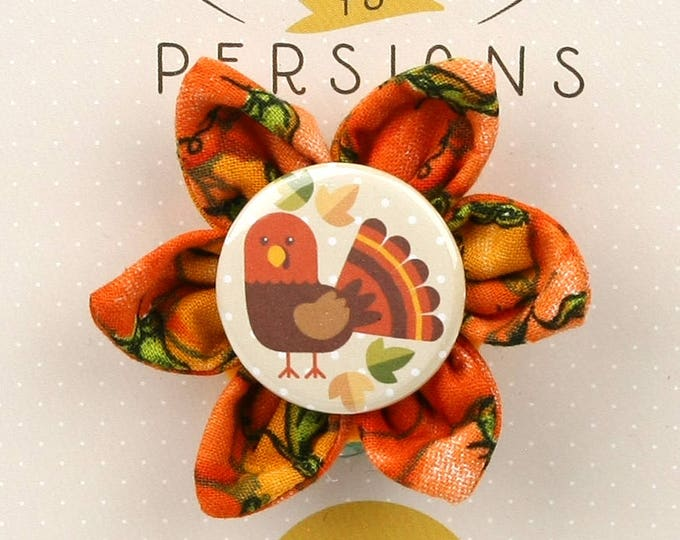 Fall Dog Bow - Thanksgiving Turkeys on Pumpkins - Flower - Collar Blossom - Small Size