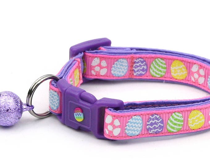 Easter Cat Collar - Patterned Easter Eggs on Pink  - Kitten or Large Size