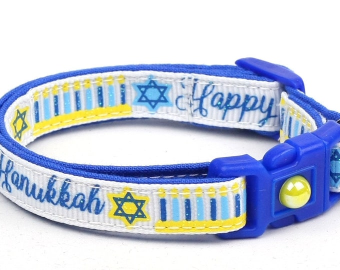 Hanukkah Cat Collar - Happy Hanukkah on White - Small Cat / Kitten Size or Large Size
