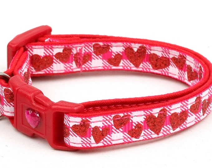 Valentines Day Cat Collar - Red Glitter Hearts on Hot Pink Gingham - Kitten or Large Size B96D72