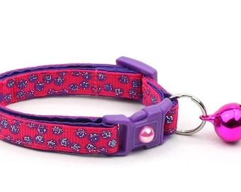 Polka Dot Cat Collar - Purple Dots on Dark Pink - Breakaway Cat Collar - Kitten or Large size B65D176