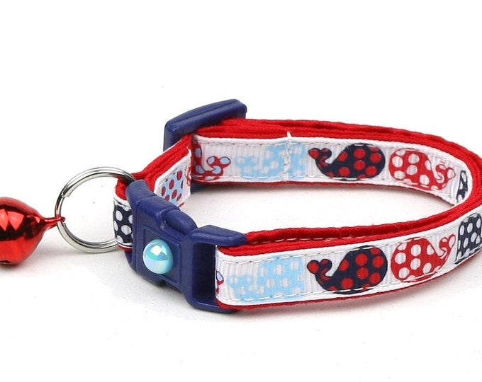 Whale Cat Collar - Red and Navy Polka Dot Whales - Small Cat / Kitten Size or Large Size B37