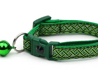 St. Patrick's Day Cat Collar - Celtic Knots on Black - Small Cat / Kitten or Large Cat Collar D50