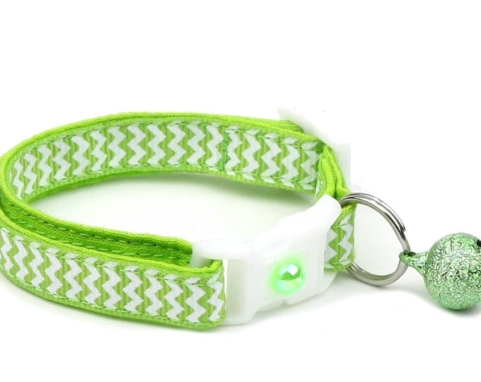 Chevron Cat Collar - Electric Green - Small Cat / Kitten Size or Large Size