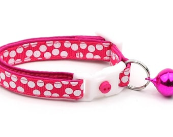Polka Dot Cat Collar - White Dots on Bright Pink - Breakaway Cat Collar - Kitten or Large size