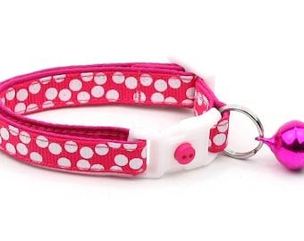 Polka Dot Cat Collar - White Dots on Bright Pink - Breakaway Cat Collar - Kitten or Large size