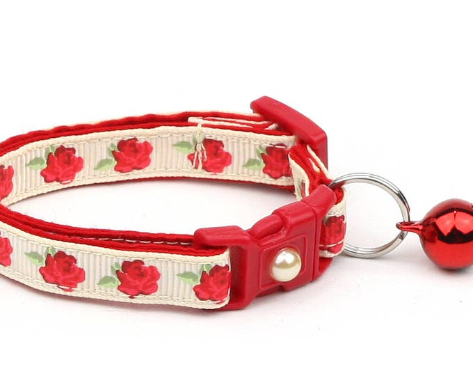 Floral Cat Collar - Red Tea Party Roses on Cream - Small Cat / Kitten Size or Large Size B52D55