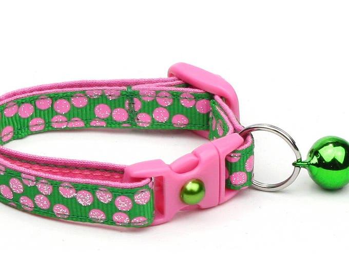 Polka Dot Cat Collar - Pink Dots on Green - Breakaway Cat Collar - Kitten or Large size