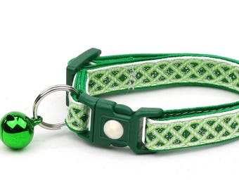St. Patrick's Day Cat Collar - Celtic Knots on White - Small Cat / Kitten or Large Cat Collar D50