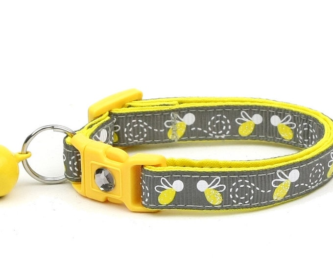 Firefly Cat Collar - Fire Flies on Grey - Small Cat / Kitten Size or Large Size
