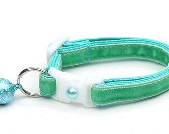 Soft Velvet Cat Collar - Aqua - Turquoise - Blue Green - Kitten or Large Size