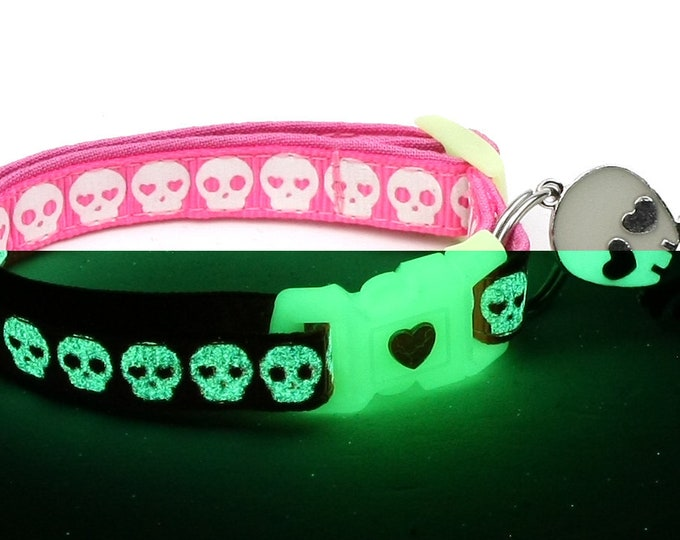 Skull Cat Collar - Glowing Skulls on Pink - Small Cat / Kitten or Large Cat Collar - Glow in the Dark