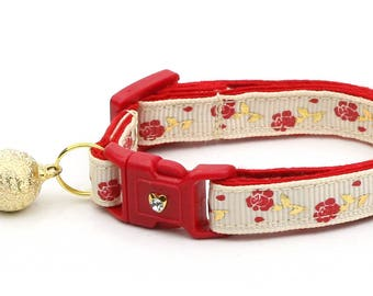 Floral Cat Collar - Red Roses and Gold Stems on Cream - Small Cat / Kitten Size or Large Size D55