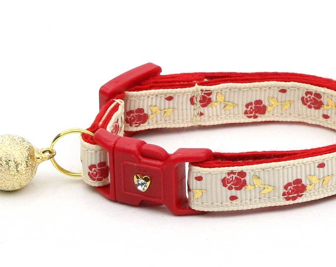 Floral Cat Collar - Red Roses and Gold Stems on Cream - Small Cat / Kitten Size or Large Size B18D55