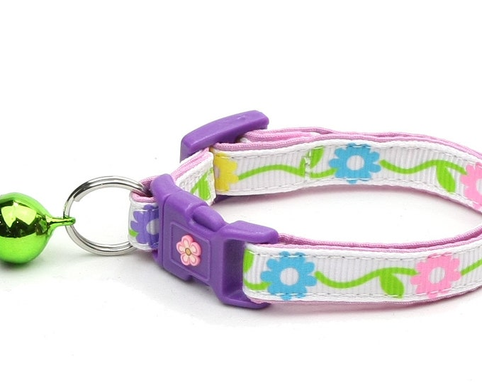 Floral Cat Collar - Pastel Daisy Chain - Small Cat / Kitten Size or Large Size