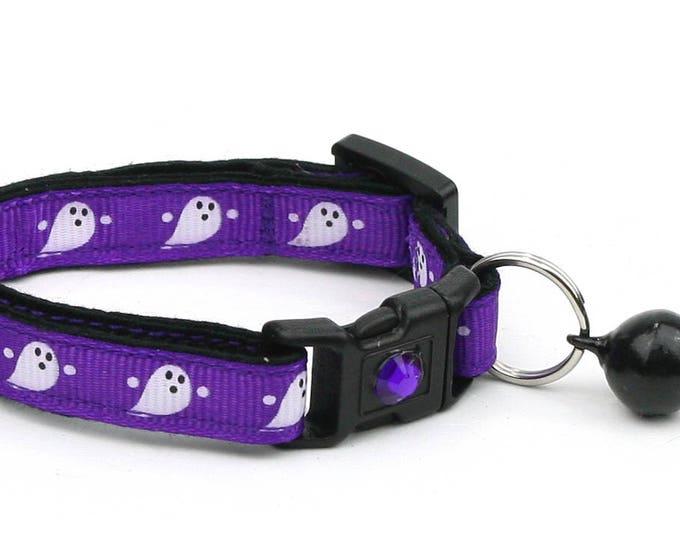 Halloween Cat Collar - Cute Ghosts on Purple - Breakaway Cat Collar - Kitten or Large size