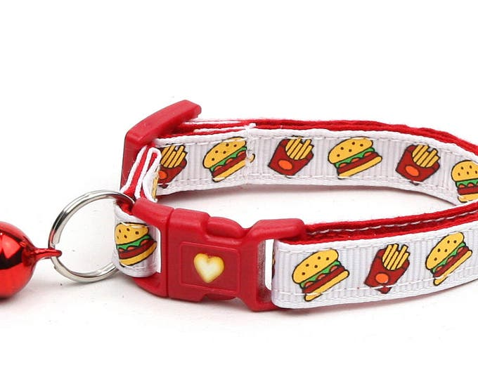 Cheeseburger Cat Collar - Burgers and Fries on White- Small Cat / Kitten Size or Large Size B23D22
