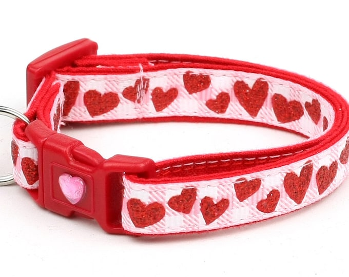 Valentines Day Cat Collar - Red Glitter Hearts on Light Pink Gingham - Kitten or Large Size B7D72