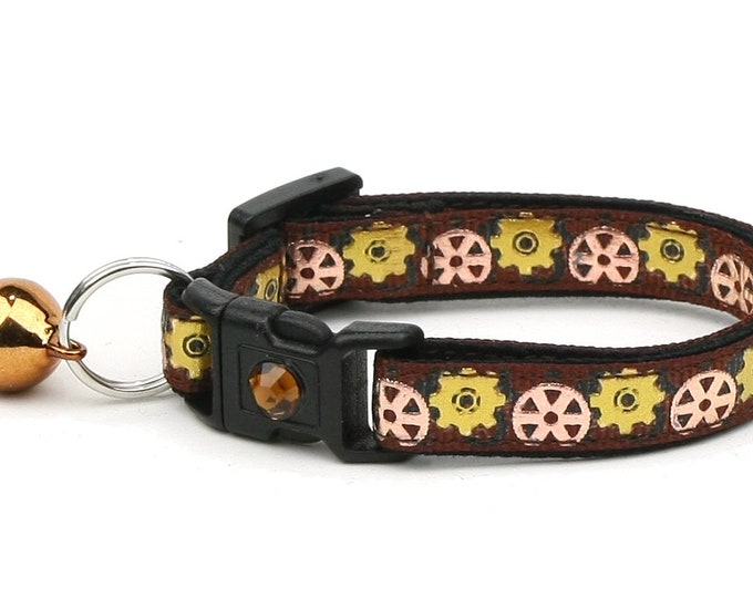 Steampunk Cat Collar - Gears on Brown - Safety Breakaway - Small Cat / Kitten Size or Large Size