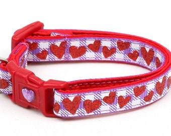 Valentines Day Cat Collar - Red Glitter Hearts on Purple Gingham - Kitten or Large Size B66D72
