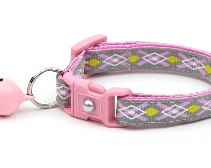 Argyle Cat Collar - Pink, Yellow, and Grey Argyle - Small Cat / Kitten Size or Large Size