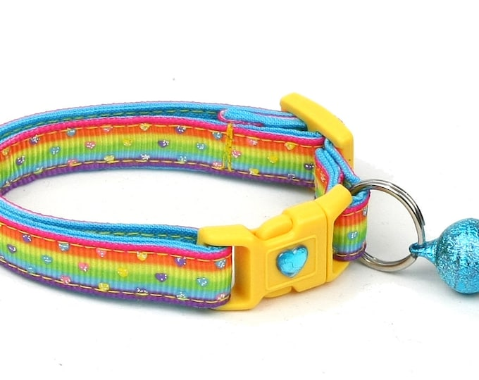 Heart Cat Collar - Mini Pastel Hearts on Bright Rainbow- Kitten or Large Size