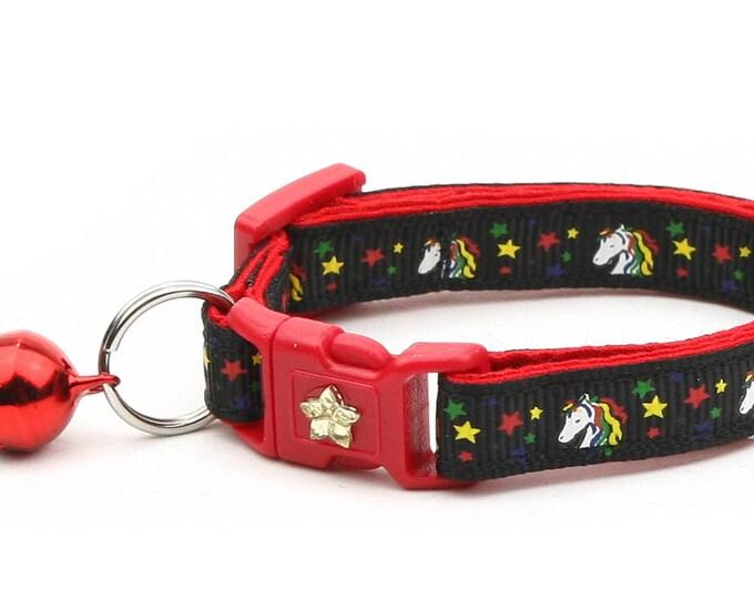 Unicorn Cat Collar - Unicorns and Rainbow Stars on Black -Small Cat / Kitten Size or  Large Size Collar