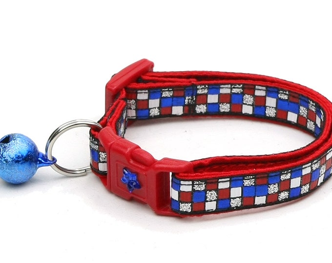 American Flag Cat Collar - Patriotic Patchwork on Black - Kitten or Large Size B45