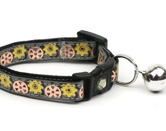 Steampunk Cat Collar - Gears on Grey - Small Cat / Kitten Size or Large Size
