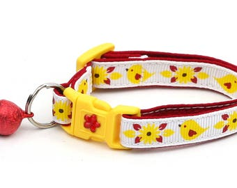 Bird Cat Collar - Red and Yellow Birds - Small Cat / Kitten Size or Large Size B62D156