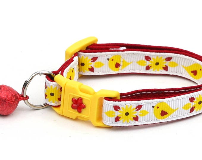 Bird Cat Collar - Red and Yellow Birds - Small Cat / Kitten Size or Large Size