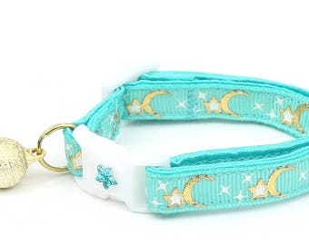 Moon Cat Collar - Gold Moons and Stars on Aqua - Breakaway Cat Collar - Kitten or Large size - Glow in the Dark