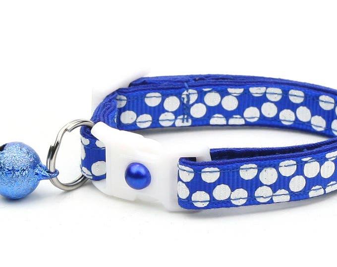 Polka Dot Cat Collar - White Dots on Royal Blue- Breakaway Cat Collar - Kitten or Large size