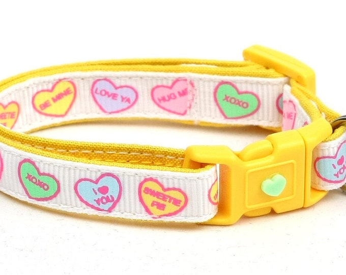 Valentines Day Cat Collar - Pastel Conversation Hearts - Small Cat / Kitten or Large Cat Collar B7D289