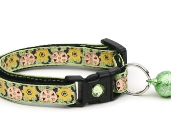 Steampunk Cat Collar - Gears on Green - Small Cat / Kitten Size or Large Size